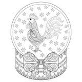 Dirigez le globe de neige de Noël de zentangle avec le coq, flocons de neige Photographie stock libre de droits