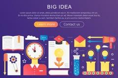 Dirigez le grand calibre de concept d'idée de couleur plate à la mode de gradient avec les icônes et le texte Solutions de pensée illustration libre de droits