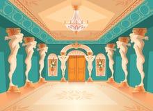 Dirigez le hall avec des colonnes d'atlas, intérieur de salle de bal illustration stock
