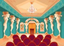 Dirigez le hall d'assistance avec des colonnes d'atlas, fauteuils illustration libre de droits