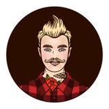 Dirigez le hippie de logo dans une chemise avec des tatouages Photographie stock