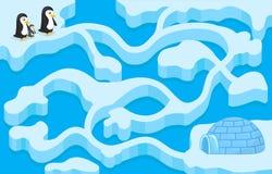 Dirigez le jeu de labyrinthe avec le pingouin trouvant la maison illustration de vecteur