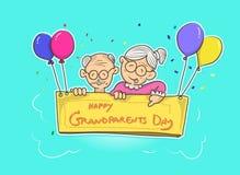 Dirigez le jour de grands-parents avec le ballon et la couleur multi illustration libre de droits