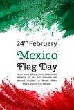 Dirigez le jour national du Mexique d'illustration, drapeau mexicain dans le style à la mode 24 février jour de drapeau Mexique D illustration libre de droits