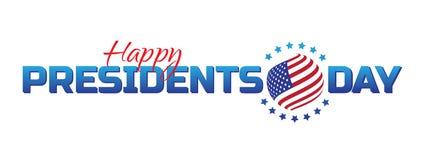 Dirigez le label, le logo ou la bannière aux Présidents heureux Day - vacances américaines nationales Illustration de vecteur d'i illustration libre de droits