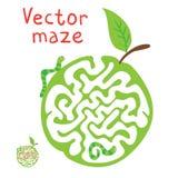 Dirigez le labyrinthe, le labyrinthe avec le ¡ de Ð aterpillar et l'Apple illustration de vecteur