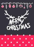 Dirigez le lettrage calligraphique de Mary Christmas de conception de Noël avec la texture d'or Photographie stock libre de droits