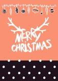 Dirigez le lettrage calligraphique de Mary Christmas de conception de Noël avec la texture d'or illustration stock