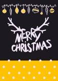 Dirigez le lettrage calligraphique de Mary Christmas de conception de Noël avec la texture d'or Photos stock