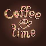 Dirigez le lettrage de temps de café décoré du modèle de romb Photographie stock libre de droits