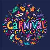 Dirigez le lettrage tiré par la main de Carnaval Titre de carnaval avec les éléments de partie, les confettis colorés et la samba photos libres de droits