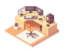 Dirigez le lieu de travail isométrique de l'artiste 3d illustration de vecteur