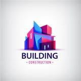 Dirigez le logo coloré de bâtiment abstrait, icône d'isolement illustration de vecteur