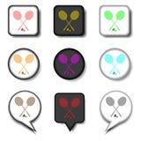 Dirigez le logo d'icônes des symboles réglés pour le badminton de raquette Image stock