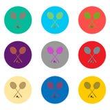 Dirigez le logo d'icônes des symboles réglés pour le badminton de raquette Photo stock