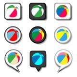 Dirigez le logo d'illustration d'icône pour le ballon de plage de symboles réglés pour le pla Photo stock