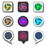 Dirigez le logo d'illustration d'icône pour des boules d'ensemble pour jouer le volleyba Photo stock