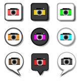 Dirigez le logo d'illustration d'icône pour l'appareil-photo de symboles réglés avec des lentilles Photo libre de droits