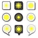 Dirigez le logo d'illustration d'icône pour les symboles réglés s ensoleillé jaune chaud Photographie stock libre de droits