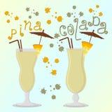 Dirigez le logo d'illustration pour le colada de pina de cocktails d'alcool Images libres de droits