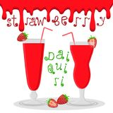 Dirigez le logo d'illustration pour le daiquiri de fraise de cocktails d'alcool Image stock