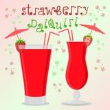Dirigez le logo d'illustration pour le daiquiri de fraise de cocktails d'alcool Photos stock