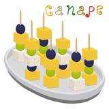 Dirigez le logo d'illustration pour les canapes colorés mûrs avec des olives de baie Photo libre de droits