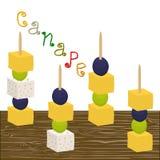 Dirigez le logo d'illustration pour les canapes colorés mûrs avec des olives de baie Photos stock
