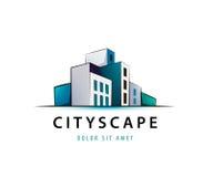 Dirigez le logo de scape de la ville 3d, architecture, structure, établissant l'icône Image libre de droits