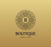 Dirigez le logo linéaire de luxe de monogramme, icône de société Cadre décoratif pour le menu de restaurant, hôtel, bijoux illustration stock