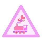 Dirigez le logotype d'illustration avec la locomotive, coeurs et illustration de vecteur