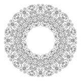 Dirigez le mandala géométrique de cadre rond noir et blanc avec des ornements d'Art nouveau - page adulte de livre de coloriage illustration libre de droits