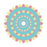 Dirigez le mandala simple coloré par pastel d'isolement sur le fond blanc Image libre de droits