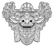 Dirigez le masque de vecteur de démon de Barong de religion de balinese de style de griffonnage, image de livre de coloration Image libre de droits