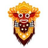 Dirigez le masque traditionnel de Barong d'un dieu de Balinese dans le style de bande dessinée d'isolement sur le fond blanc Illustration de Vecteur