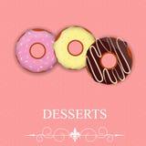 Dirigez le menu de dessert dans le style de jour du ` s de Valentine illustration libre de droits