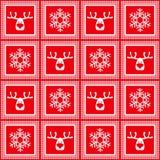 Dirigez le modèle à carreaux sans couture, nouvelle année, Noël, silhouettes des cerfs communs, flocons de neige, illustration de vecteur