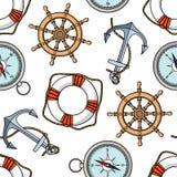 Dirigez le modèle avec des ancres, lifebuoies, roues de bateaux, boussoles illustration stock