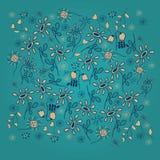 Dirigez le modèle avec le décor de fleurs sur le fond repéré par turquoise foncée Images libres de droits
