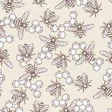 Dirigez le modèle coloré par pastel sans couture avec l'abeille et les nids d'abeilles linéaires Fond organique de miel illustration de vecteur