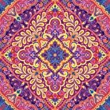Dirigez le modèle d'Inde de Paisley, l'ornement décoratif pour le textile, l'emballage ou le décor de bandana Conception de Bohèm Image stock
