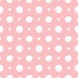 Dirigez le modèle de points sans couture de polka de bébé avec des smiley Couleurs roses et blanches Photographie stock libre de droits
