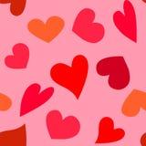Dirigez le modèle des coeurs rouges sur le fond rose illustration stock