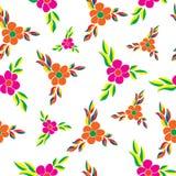 Dirigez le modèle floral dans le style de griffonnage avec des fleurs et des feuilles Image libre de droits