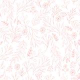 Dirigez le modèle floral dans le style de griffonnage avec des fleurs et des feuilles Adoucissez, jaillissez fond floral Photos stock