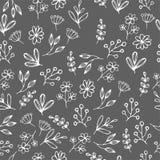 Dirigez le modèle floral dans le style de griffonnage avec des fleurs et des feuilles Adoucissez, jaillissez fond floral Photo stock