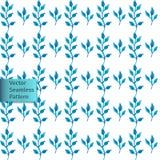 Dirigez le modèle ornemental floral décoratif naturel de feuilles bleues sans couture tirées par la main d'aquarelle Photos libres de droits