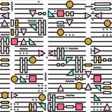 Dirigez le modèle sans couture abstrait avec des formes géométriques sur le fond rayé Style de Memphis illustration stock