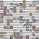 Dirigez le modèle sans couture abstrait avec des formes géométriques sur le fond rayé Style de Memphis illustration de vecteur