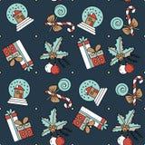 Dirigez le modèle sans couture avec des décorations et des cadeaux de Noël Photo stock